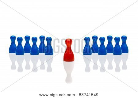 Business concept for leadership team leadership step forward. Multiple blue pawn figures red one in front. Isolated on white background. Copy space room for text. poster