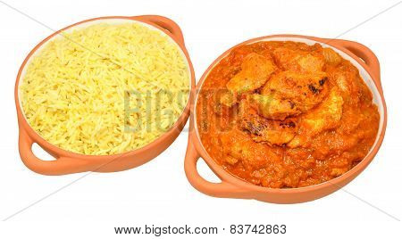 Chicken curry and pilau rice meal isolated on a white background poster
