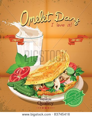 Omelet day. Poster with omelet and milk in vintage style.