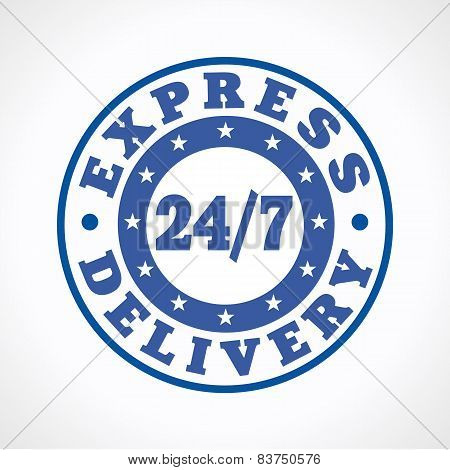 Template emblem 24/7 courier service. Express delivering around the clock logo. Round blue stamp, store, postoffice, restaurant or fastfood brand sign. 24 hours, 7 days a week business.