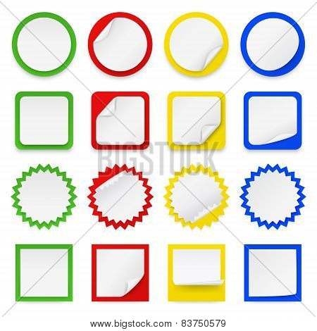 Set of different blank stickers