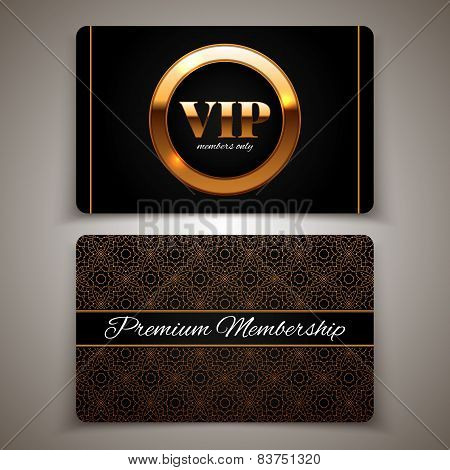 Gold Vip Cards, Premium Membership, Vector Illustration