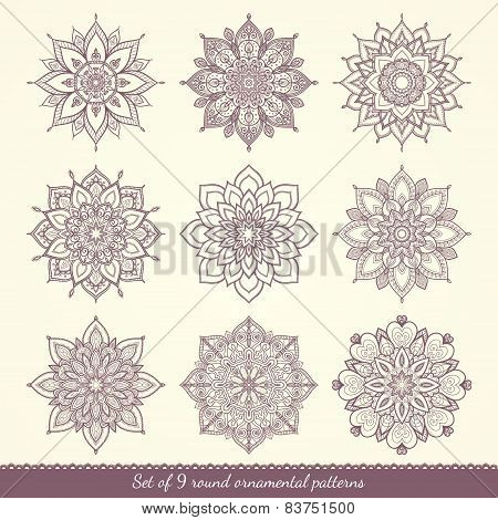 Set Of Nine Ethnic Ornamental Floral Patterns.