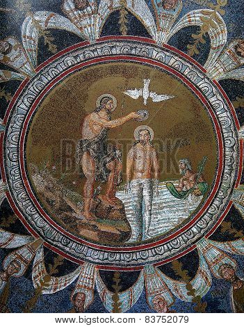 Byzantine icon mosaic in the Baptistry of Neon