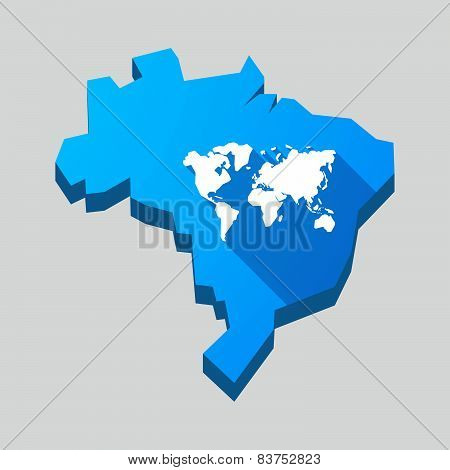 Blue Brazil Map With A World Map