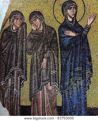 Byzantine icon mosaic in Nea Moni monastery