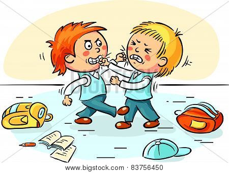 Two schoolboys are fighting