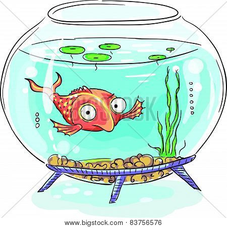 Cartoon goldfish in a fishbowl