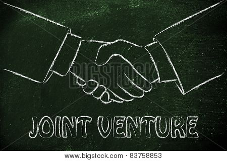 business partners shaking hands: creating a joint venture poster