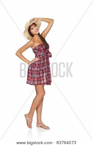 Happy young woman portrait in country style