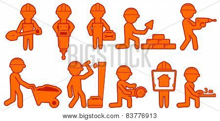 set isolated builders with helmet and tools
