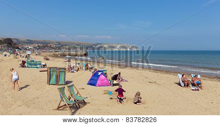 Sunshine and warm weather brought tourists and visitors to Swanage on the Dorset coast