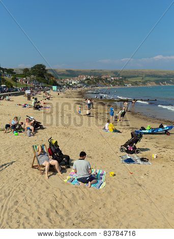 Sunshine and warm weather brought visitors to Swanage on the Dorset coast to enjoy the beach