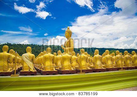 Golden Buddha At Buddha Memorial Park , Nakorn Nayok, Thailand.