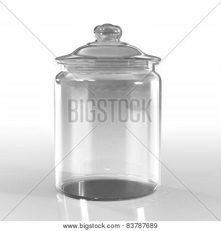 Empty Jar Glass Isolated On White Background