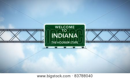 Indiana USA State Welcome to Highway Road Sign