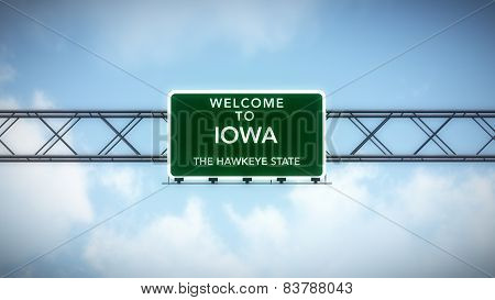 Iowa USA State Welcome to Highway Road Sign