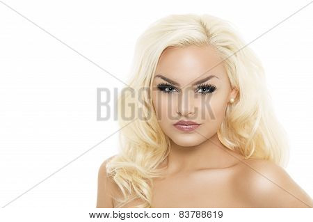 Bare Seductive Blond Woman On White Background