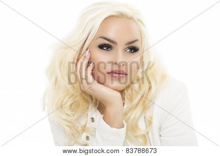 Pretty Young Blond Woman Leaning On Her Hand