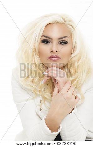 Fashionable Pretty Blond Woman Leaning On Her Hand