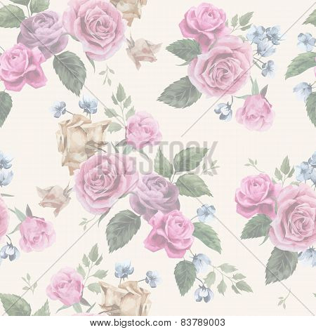 Seamless Floral Pattern With Pink Roses On Light Background, Watercolor