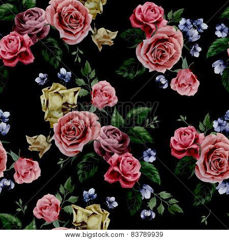Seamless Floral Pattern With Red, Purple And Pink Roses On Black Background, Watercolo