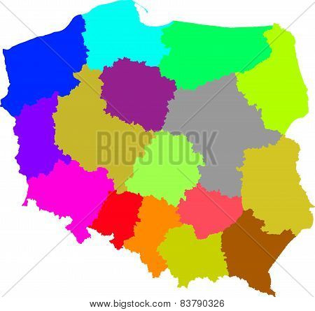 Color, detailed map of Polish administrative divisions poster