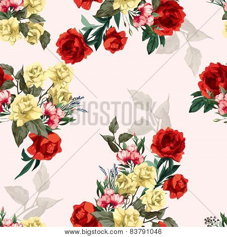 Vector Seamless Floral Pattern With Yellow And Red Roses