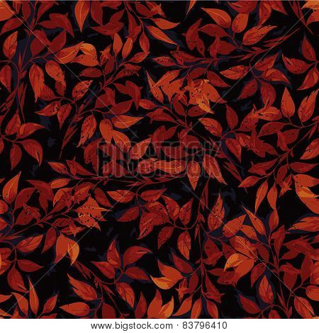 Seamless Floral Pattern With Red Ficus Leaves