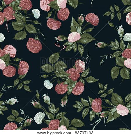Seamless Floral Pattern With Pink And White Roses