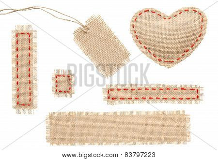 Sackcloth Heart Shape Patch Tag Label Object With Stitches Seam, Burlap Isolated Over White