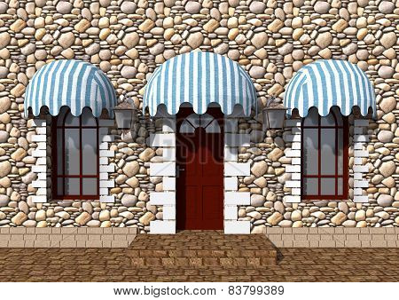 Front Door Of An Old Building And The Windows Under Canopies Of Textiles.