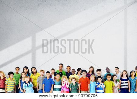 Children Kids Childhood Friendship Happiness Diversity Concept poster