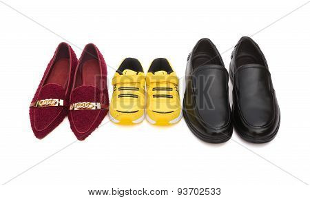 Three Pairs Of Shoes For Dad Mom And Son On White With Clipping Path, Family Concept