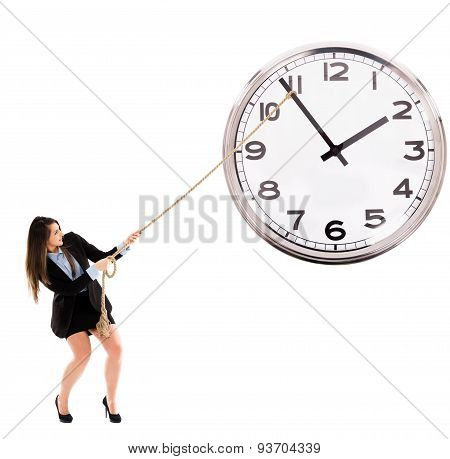 Businesswoman Trying To Stop Time