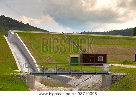 Diverted water at the dam. Flooding and heavy rain in the Czech Republic