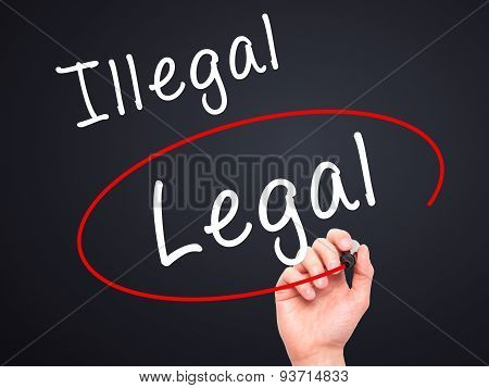 Man Hand writing and Choosing Legal instead of Illegal with black marker on visual screen