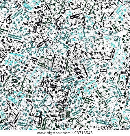 Grunge old music background with notes, vector.