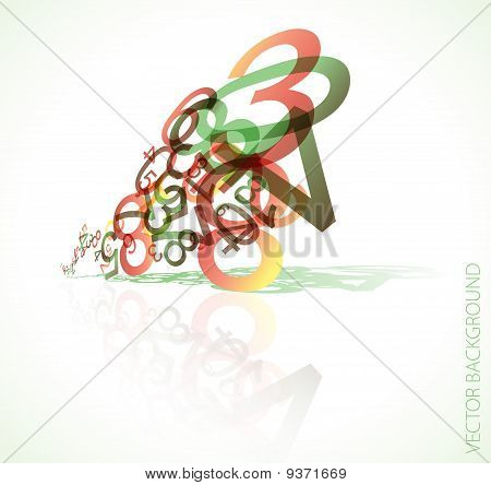 Abstract 3D background with colorful retro numbers poster