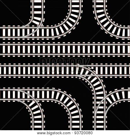 Seamless background of railway tracks on black. Raster version
