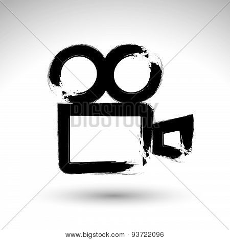 Realistic ink hand drawn vector video camera icon, simple hand-painted camera symbol, isolated on wh