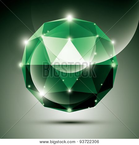 Abstract 3D emerald shiny sphere with sparkles, green glossy orb created from triangles, eps10.