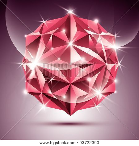 3D red shiny disco ball. Vector fractal dazzling abstract illustration - eps10 jewel. Gala theme. Fa