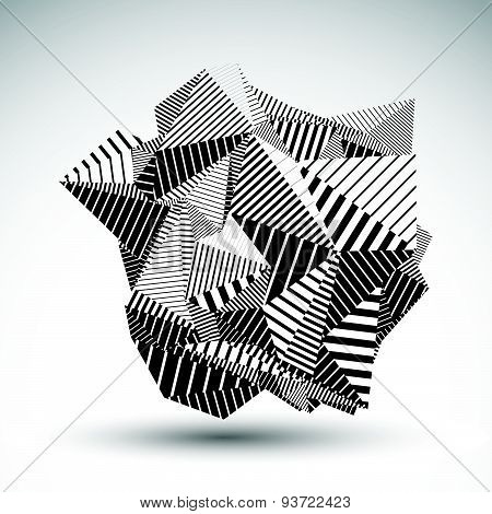 Decorative complicated unusual eps8 figure constructed from triangles with parallel black lines. Str