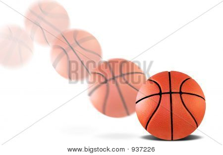 a basketball bouncing with a motion blur poster