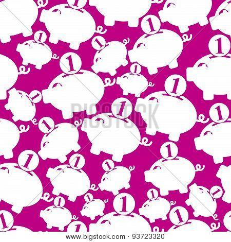 Seamless backdrop with a piggybank symbol, financial theme. Personal savings concept. Economics idea