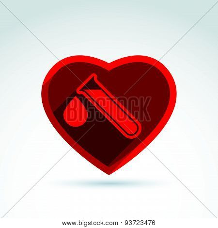Donor blood heart and Circulatory system icon, vector conceptual stylish symbol for your design.