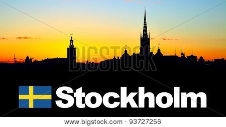 Silhouette of Old Town of Stockholm with copy-space