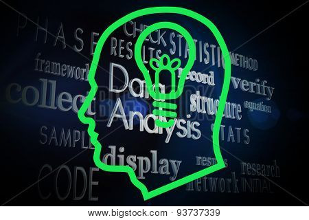 Light bulb in head against buzzwords on black background