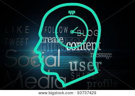 Stopwatch in head against social media buzzwords on black background